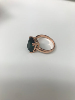 Rose Gold Emerald Style Ring