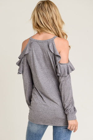 Mandy Ruffle Cold Shoulder Top