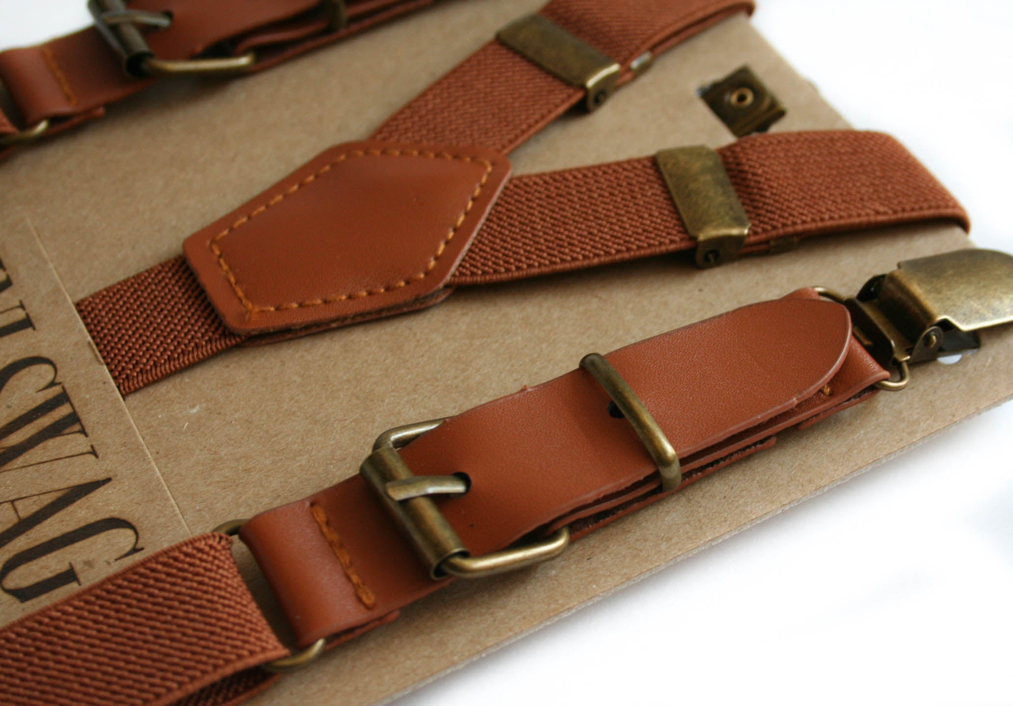 Boys Camel Leather Buckle Suspenders