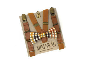 Fall Plaid Bow Tie & Boys Leather Camel Suspenders Set