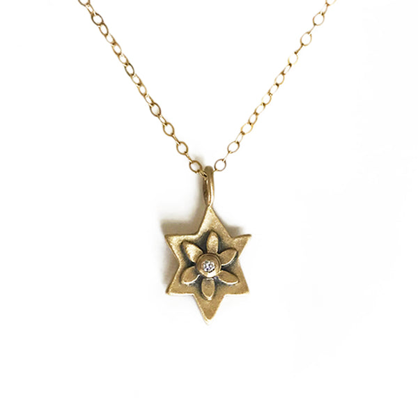 14k botanical jewish star