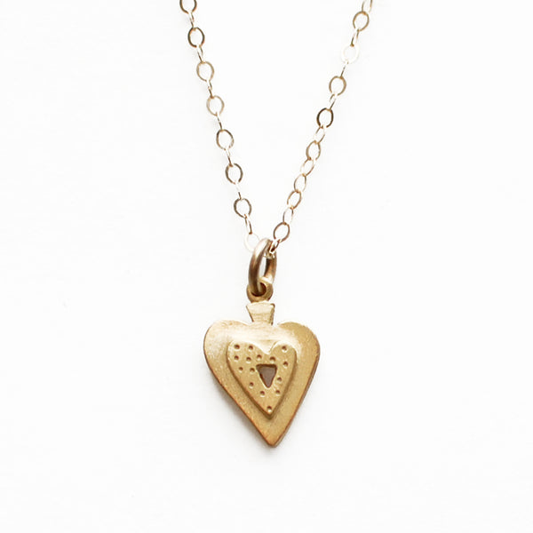 14k gold small heart necklace