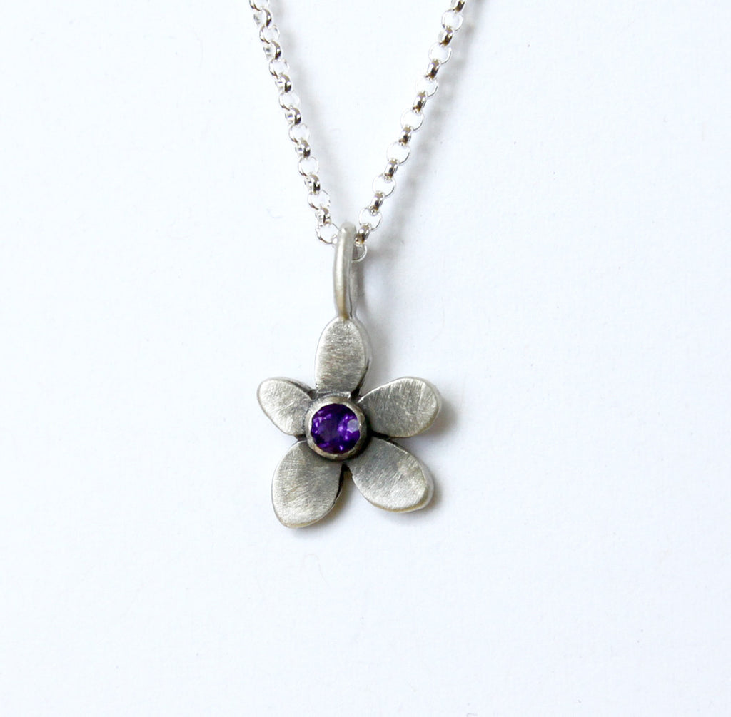 botanical violet necklace with set stone