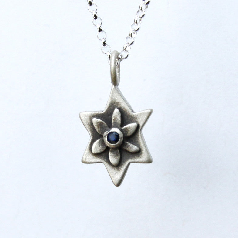 botanical star of david necklace with set stone