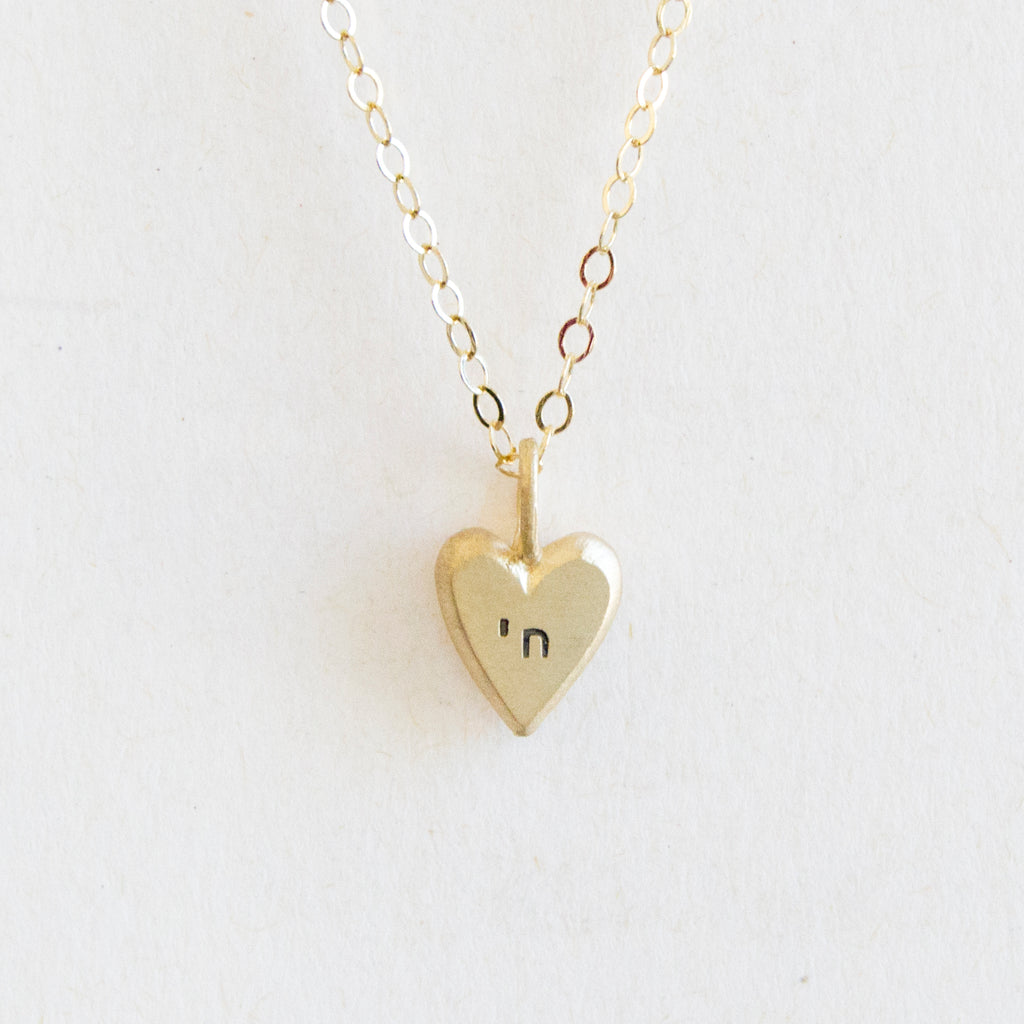 14k gold tiny heart with chai necklace