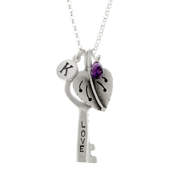 love/hebrew key and violet botanical combination necklace {starts at $82}