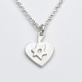 heart necklace with star of david