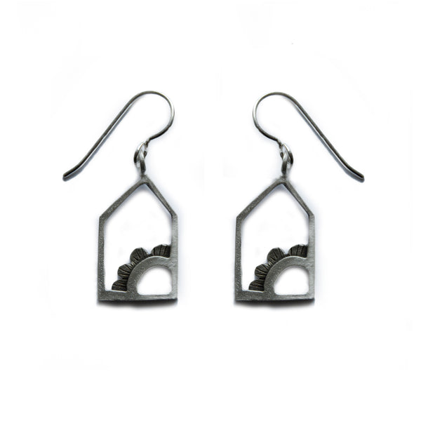 house and flower earrings