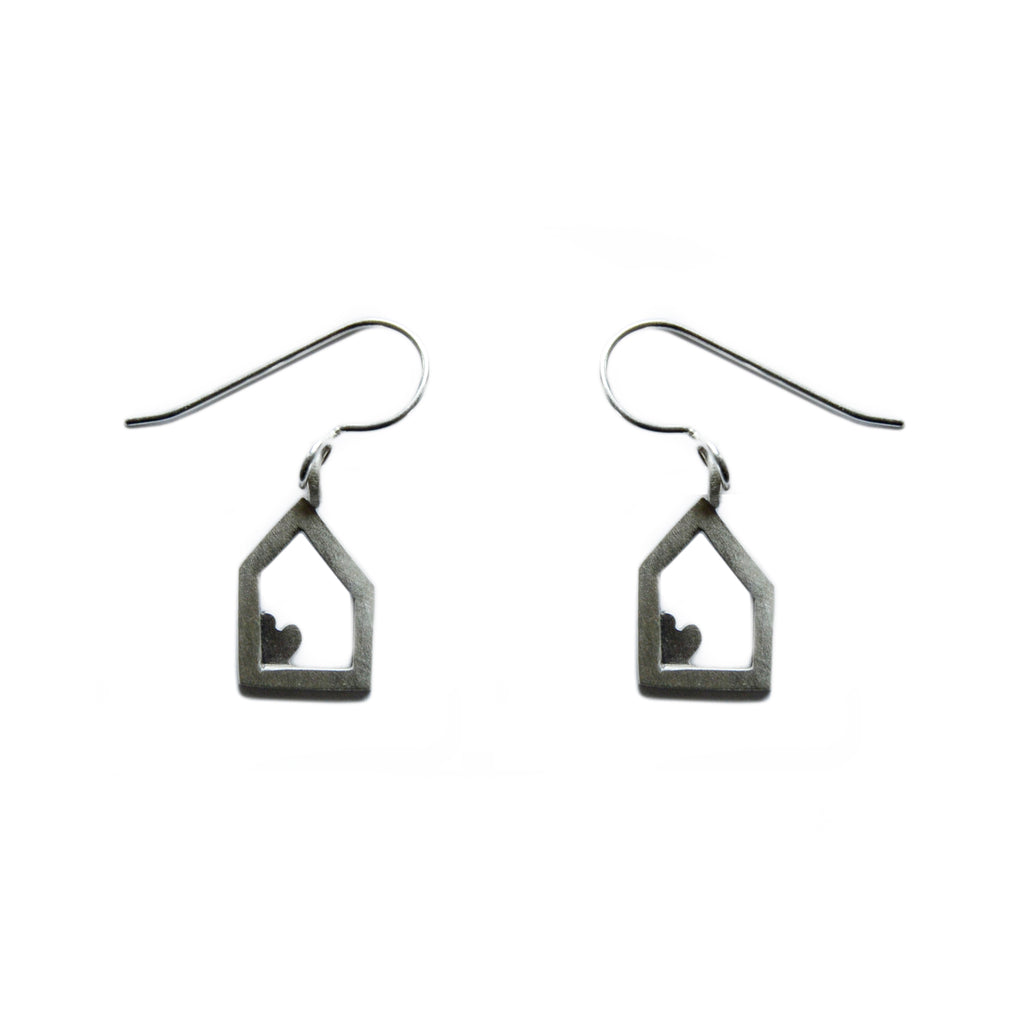house and heart earrings