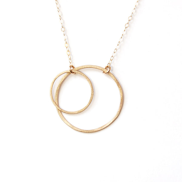 14k gold large and medium double open circle necklace