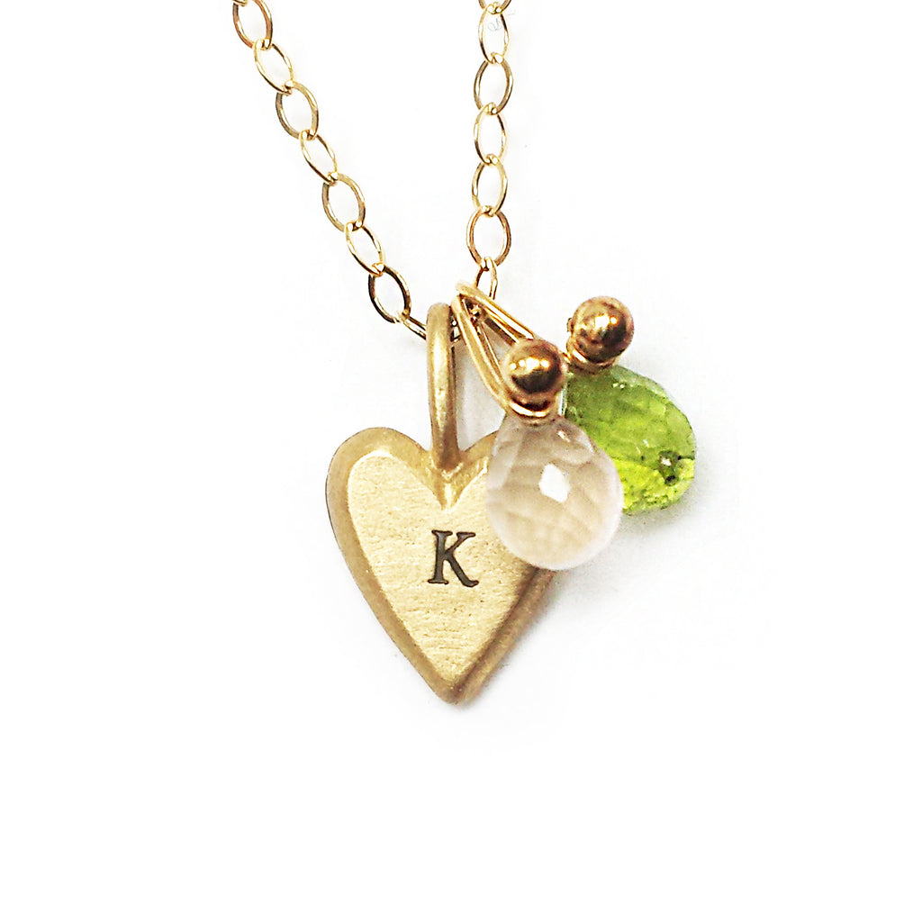 14k gold personalized tiny heart combination necklace {starts at $170}