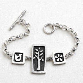 tree, bird, flower vignette bracelet