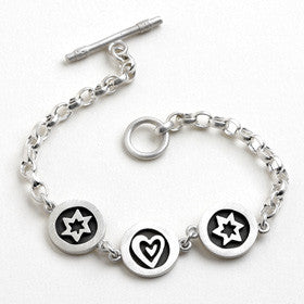 heart and star of david vignette bracelet