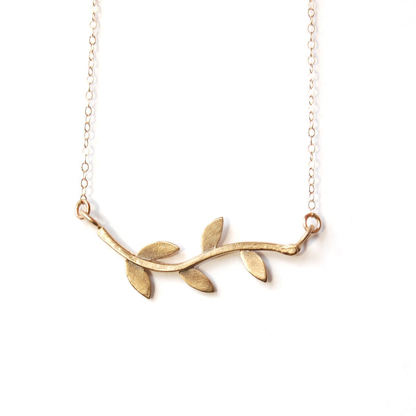 14k gold laurel vine necklace
