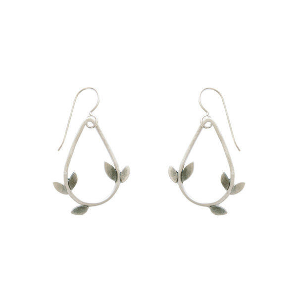 small laurel teardrop earrings