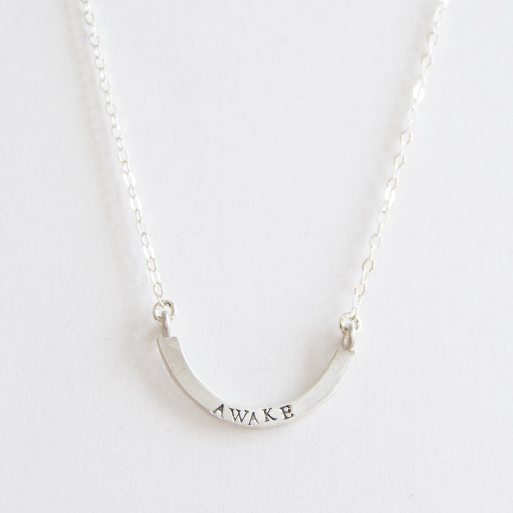 awake cup half full single necklace