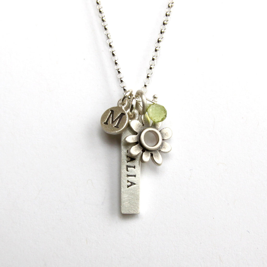 personalized bar and botanical combination necklace {starts at $104}
