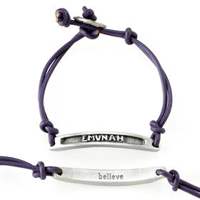 emunah/believe transliterated word bracelet