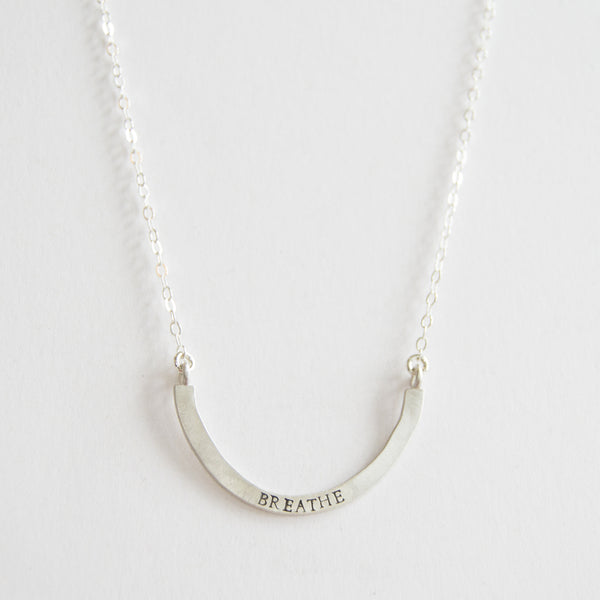 breathe cup half full single necklace