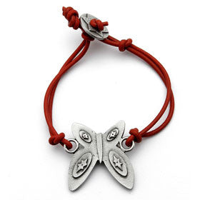 pewter butterfly bracelet on leather