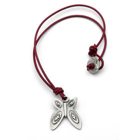 pewter butterfly necklace on leather