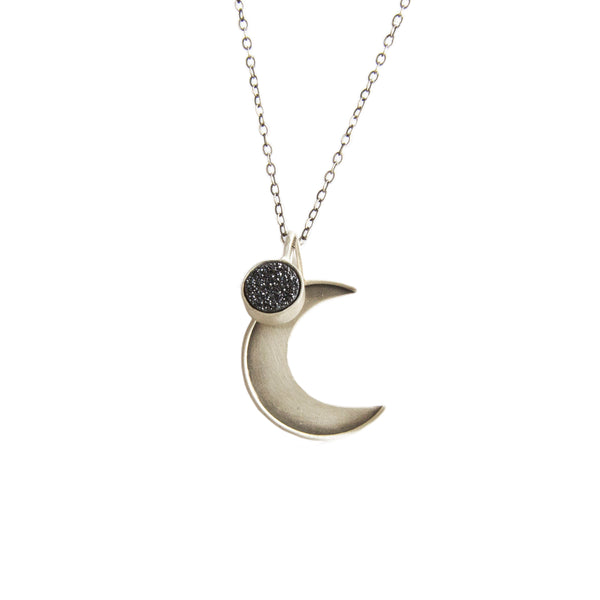 Crescent necklace with druzy