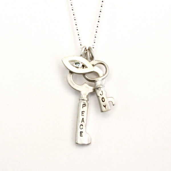eye amulet with peace and joy keys combination necklace {starts at $144}