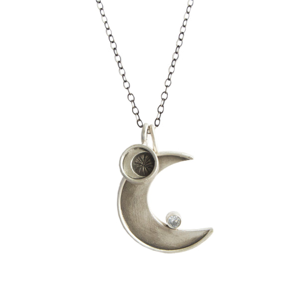 faceted crescent necklace with moon circle