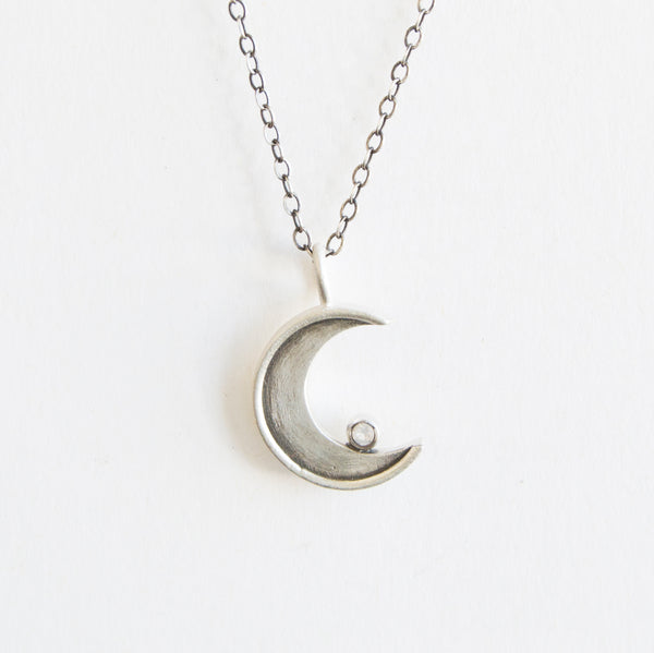 faceted small crescent necklace