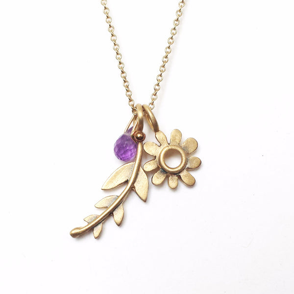 14k gold botanical frond combination necklace {starts at $380}