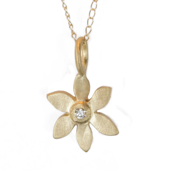14k gold botanical forget me not necklace