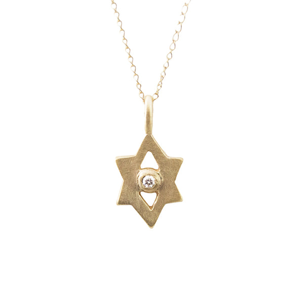 14k gold tiny Star of David amulet with 2mm diamond
