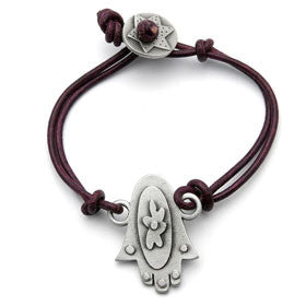 pewter hamsa bracelet on leather