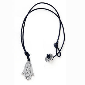 pewter hamsa necklace on leather