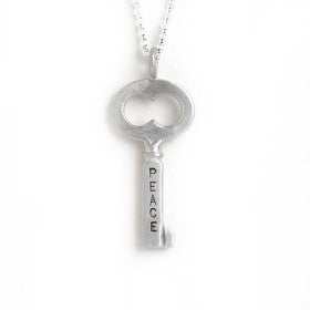 medium peace key necklace