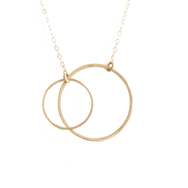 14k gold medium double open circle necklace
