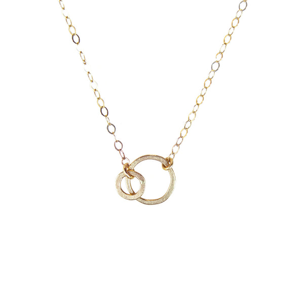 14k mini double open circle necklace