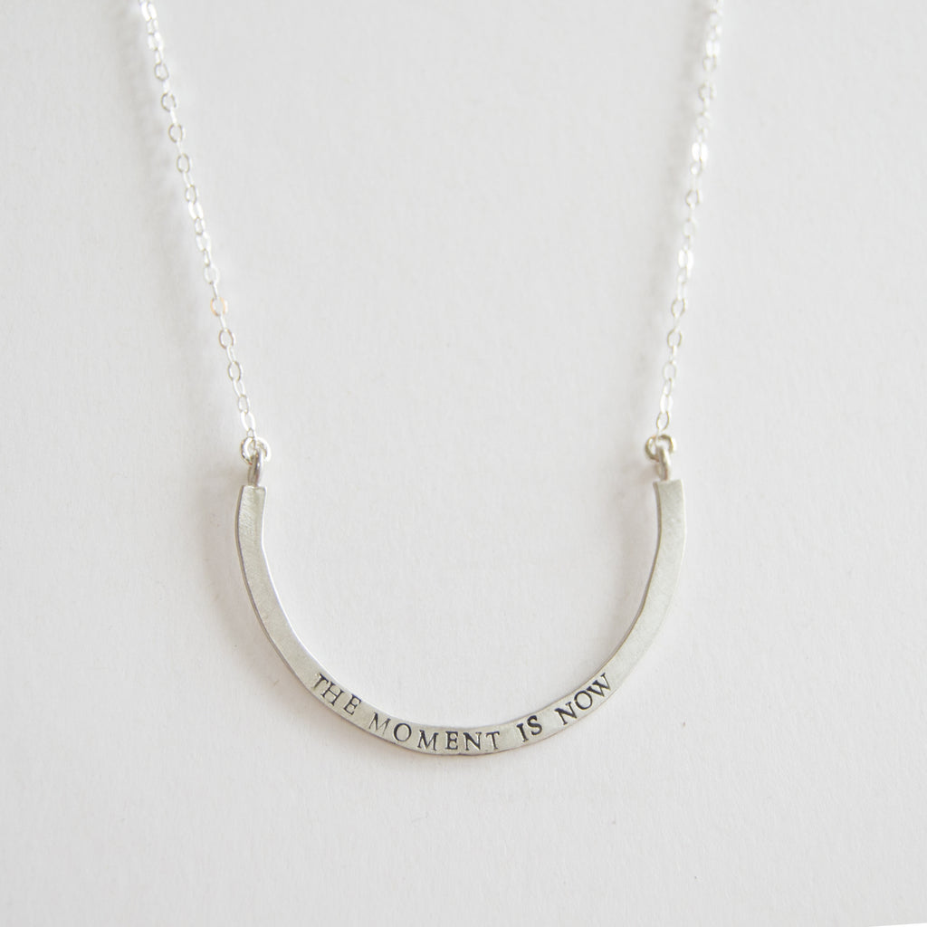 the moment is now cup half full single necklace