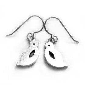 Sterling silver bird earrings that invoke the playful quality of children's drawings.
