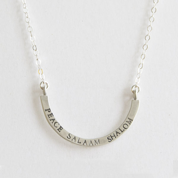 peace salaam shalom cup half full single necklace