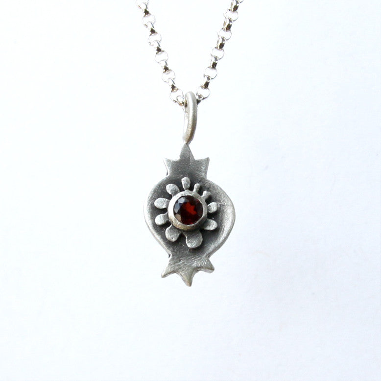 botanical pomegranate necklace with garnet
