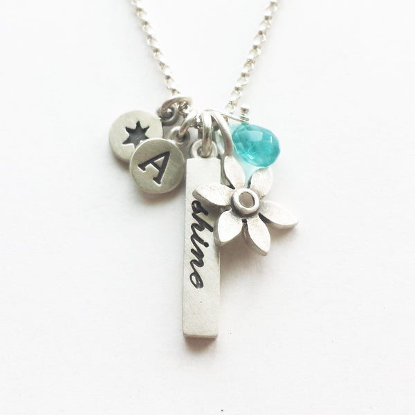 inspirational word bar and flower botanical combination necklace {starts at $72}