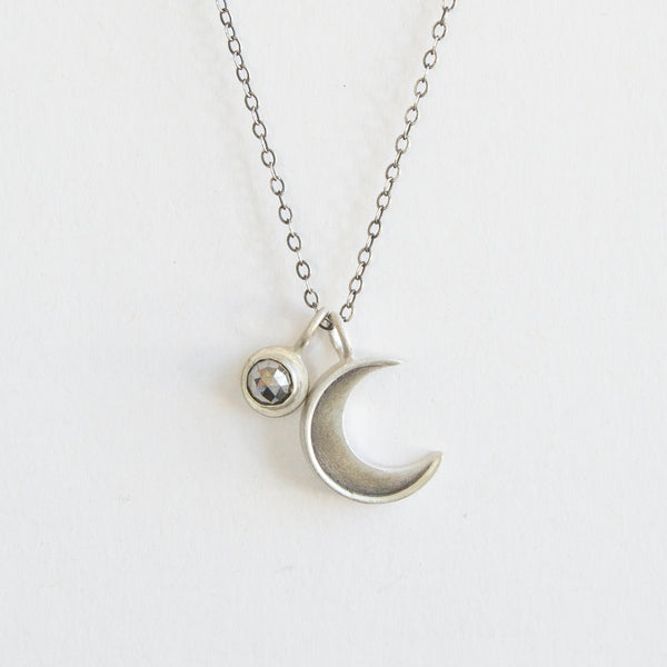 small crescent necklace with cabochon