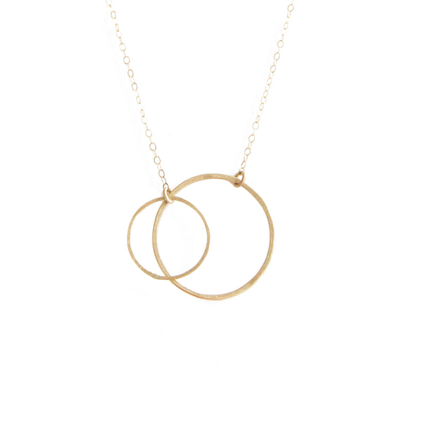 14k gold small double open circle necklace