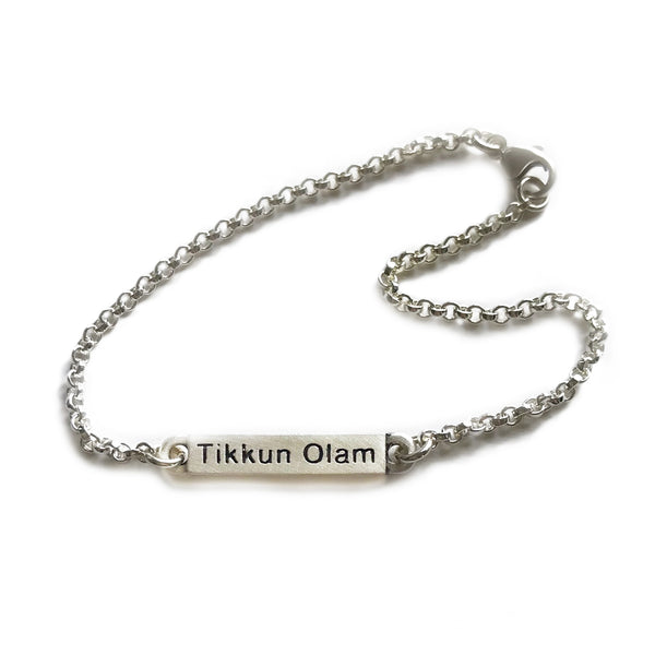 tikkun olam judaic word bar bracelet