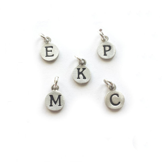 extra sterling silver initial tiny dot charm