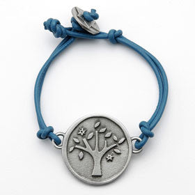 pewter tree of life bracelet on leather