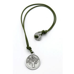 pewter tree of life necklace on leather