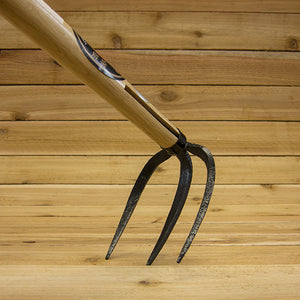 Japanese 3 Prong Hand Cultivator Rake - Back of Tines