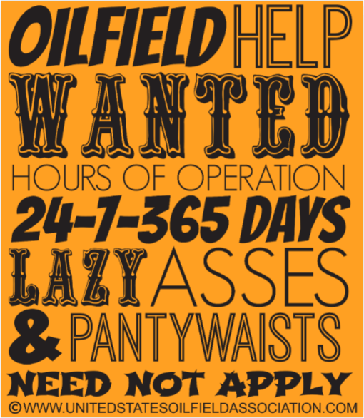 Hard Hat Decals - Oilfield Help Wanted Hard Hat Sticker
